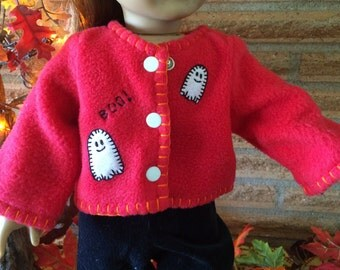 18 Inch Doll clothes - BOO - Ghosts Red Fleece Jacket - For Halloween
