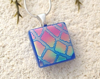 Petite Purple Blue  Pink Necklace, Fused Glass Jewelry, Dichroic Necklace, Pink Gold Blue , DichroicJewelry, Glass Jewelry, 011616p117