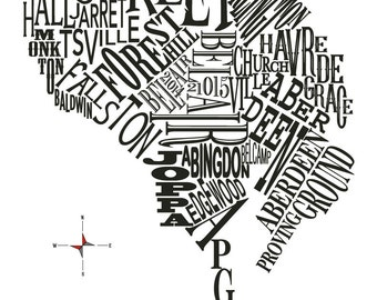 Harford County Neighborhood Map 11x14in print