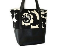 Vegan Leather Shoulder Tote Bag - Leather Tote Bag Tablet Pocket - Shoulder Bag Tablet Pocket - Elegant Black and White Fabric Tote
