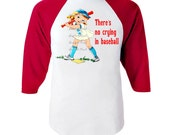 "Girl Baseball Shirt - SALE Red Baseball Shirt - Size 4 Ready to Ship - ""There's no crying in baseball"" - Red Baseball Shirt - Girl  Gift"