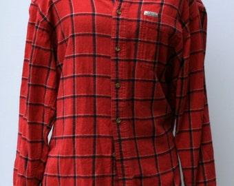 Flannel Vintage Chaps Ralph Lauren Men Flannel red Shirt, Comfy man woman shirt plaid grunge hipster 90s M Medium button down shirt Hipster