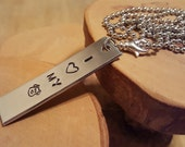 I Heart My DOG aluminum rectangle hand stamped metal pendant charm necklace