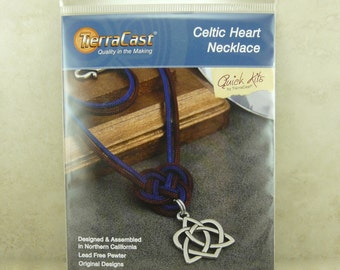 TierraCast Quick Kit Celtic Heart Knot Necklace - Knotted Cord Irish Ireland - American Made Lead Free Pewter - I ship Internationally