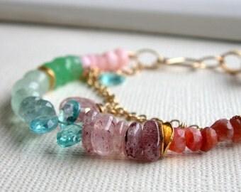 Sunset Ocean Bracelet. Gemstone Bracelet.