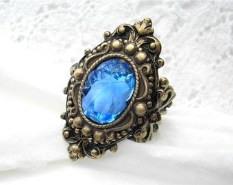 Light Sapphire Glass and Brass Ring - Victorian Style Ring