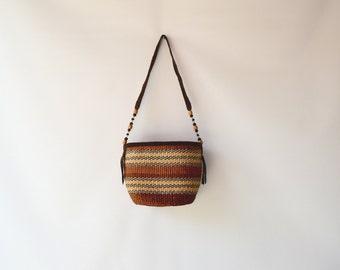 earthy colors woven bag/ long strap bucket bag