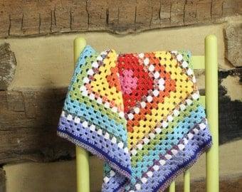 Crochet Rainbow Afghan Granny Square Crocheted Blanket