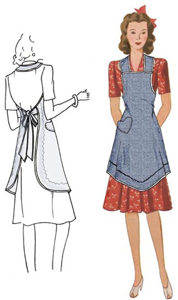 Vintage Aprons, Retro Aprons, Old Fashioned Aprons & Patterns Vals Apron $10.00 AT vintagedancer.com