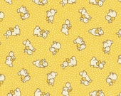 HALF YARD - Bunnies and Dots on YELLOW 31280-50 - Retro 30s Child Smile Collection Lecien - Bunny, Rabbit, Polka Dots, Bows, Flower