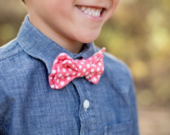 boys bowtie- tie- photoshoot prop- coral wedding bowtie-coral polka dot bowtie-birthday tie-boys clothing- easter outfit-boy accessories