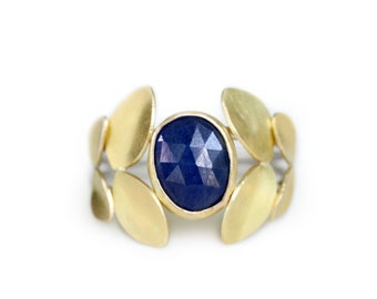 Sapphire Statement Ring - Rose Cut Sapphire Cocktail Ring