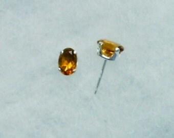 6x4mm Madiera Citrine Gemstones in 925 Sterling Silver Stud Earrings SnapsByAnthony November Birthstone