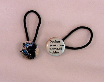 """Ponytail holder, choose quantity - Penguin, Ducks, Butterfly or Design your own - 1"""" diameter button - with elastic hair tie - gift ideas"""