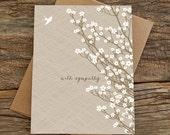 sympathy card / condolences card / bird and blossoms