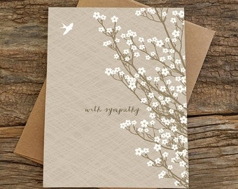 sympathy card / condolences card / bird and blossoms