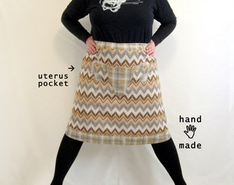 Uterus Skirt -- chevron, plaid, brown, tan, grey, vintage knit poly fabrics -- plus size, size 16, size 18 -- Pro-Choice 4ever -- 37W-48H