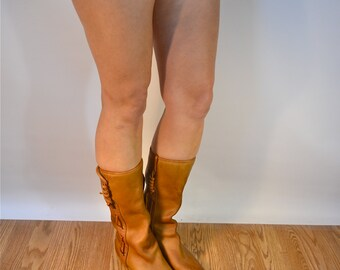 brown leather boots, Us 10, Uk 8, Eu 41, brown tall boots, MADE in ITALY, leather laced boots, womens leather boots, leather riding boots