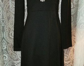 Long Black Dress Plunging Neckline, Gothic Witchy Small Medium