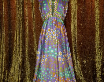 Vintage 1970's Colorful Hippie Dress Floral Psychadelic Small Medium