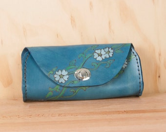 Small Leather Clutch - Handmade blue clutch in the Willow pattern with flowers and vines  - Leather Purse, Clutch, Wristlet, or Waist Bag