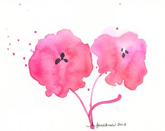 "Watercolor flowers print of rose pink flowers: ""Two Blooms"""