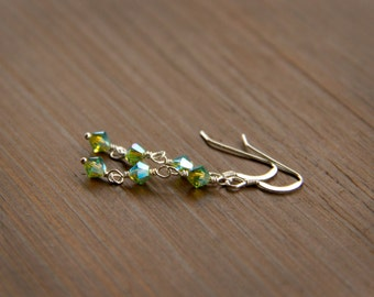 Cheerful Peridot Green Swarovski Dangle Earrings in Sterling Silver