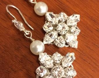 Sterling Silver Vintage Style Bridal Earrings made with Swarovski Crystal Rhinestones & Pearls