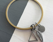 Wisdom Feather and Triangle Dangle Bangle Bracelet Stainless Steel