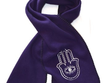 MTO Hamsa Scarf Embroidery Stitched on Fleece Scarf Embroidered MADE to Order