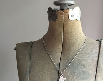 Sterling Silver Hand Cut Dotty Heart Pendant Necklace Upcycled Recycled