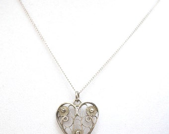 Heart Necklace, Sterling Silver Necklace, Vintage Pendant, Vintage Necklace, Filigree Heart Necklace, Heart Pendant, Etruscan Pendant