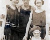 vintage photo 1910 BAthing Beauty women Man Little Girl Beach Costumes Coney Island