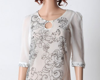 White womens shirt, Sheer white shirt with black pattern, 3/4 length sleeves, size FR 36 / UK 8, MALAM