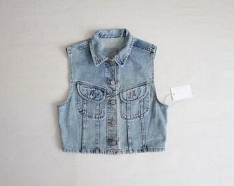 cropped denim vest | vintage denim vest