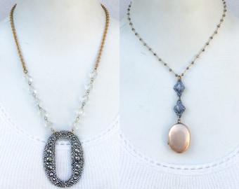 1or2 pc Lot! antique Victorian necklaces. Haute. cut steel buckle, aesthetic gf locket pendant. marcasite chain ooak deco jewelry p44