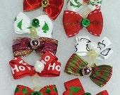 Puppy Small Dog Christmas Bows - 12 PAIRS- 24 bows