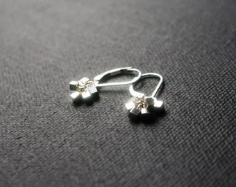 Tiny Sterling Silver Cube Cluster Earrings