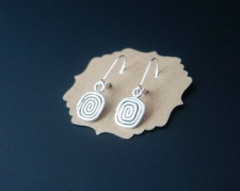 Sterling silver earrings with fine silver spiral drops