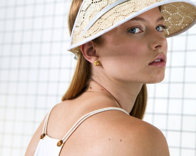 Featured listing image: Sisal Straw Visor. Honeycomb Visor. Adjustable Leather Finish. Fun Spring Fashion. Sisal Cap SS16