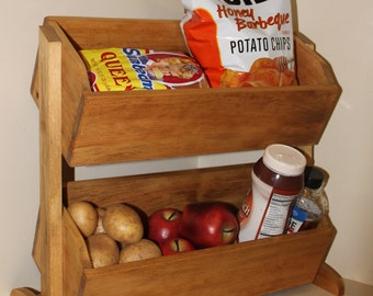 Wood Vegetable Bin wooden Bread Box Primitive Storage for Onion Potatoes Country Kitchen Counter top under cabinet Organizing Ideas
