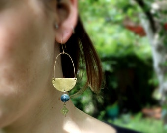 Apatite and Brass Crescent Earrings