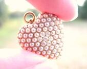 Antique Diamond Pearl Heart Pendant, 14K Gold, Brooch, Watch Pin, Fine Old European Cut Diamonds, by Riker Bros, Optional Period Chain