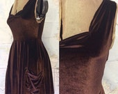 Velvet sleeveless dress with pockets -- stretchy and effortless leotard dress, fit-and-flare cut with sweetheart neckline. Deep Brown.