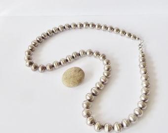 """21"""" Silver bead necklace, vintage Mexican silver"""