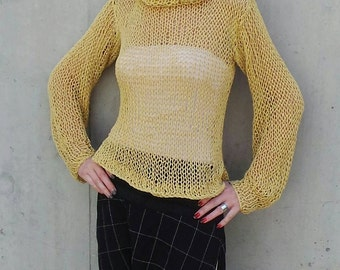 Yellow sweater, yellow summer loose knit sweater, yellow blouse sweater, light weight cotton linen sweater, puff sleeve