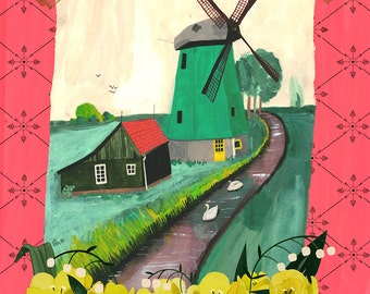 Dutch Windmill, with yellow, tulips, by the canal, Netherlands, Delft, Swan, Farm, Landscape
