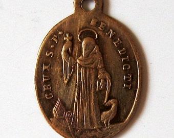 Antique St Benedict Religious Medal. 1800s