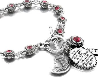 Ruby Inspirational Charm Bracelet, Ruby Crystals, Quote Bracelet, Bracelet with Sayings