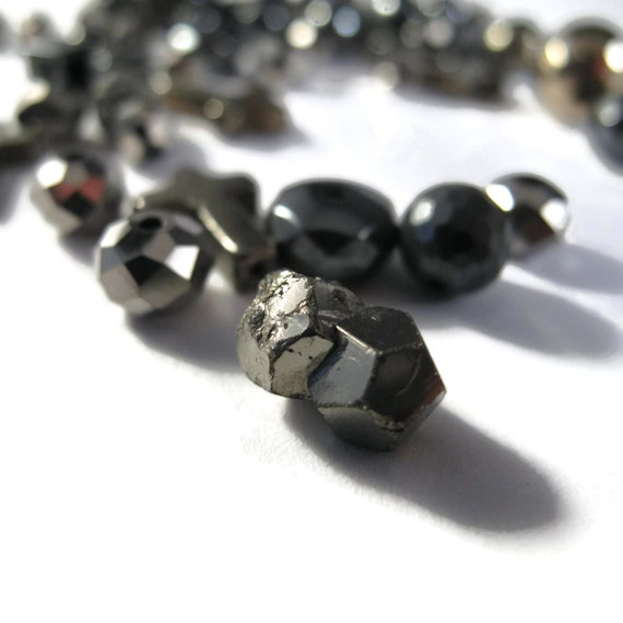 Gemstone Bead Mix, Metallic Grab Bag, 54 Pyrite and Hematite Beads for Making Jewelry, Assorted Shapes & Sizes (L-Mix29b)